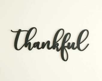 Thankful Sign - Farmhouse Decor - Rustic Home Decor - Laser Cut Thankful Sign