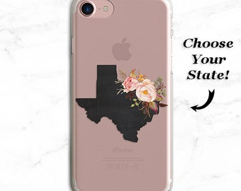Custom Floral State iPhone 7 Case, Personalized iPhone Cover, Texas, California, Clear Plastic Case, iPhone 6 plus, s5, s6, s7, note 5