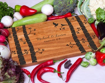 Cutting Board Wedding gift Personalized cutting board wood - Birches Custom Laser Engraved - Housewarming gift Anniversary Gift for Couple