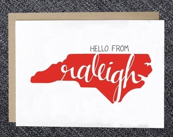 Notecard - Hello from Raleigh Note Card, Raleigh Greeting Card, Hello Raleigh, NC