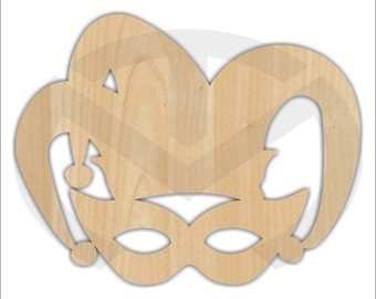 Unfinished Wood Mardi Gras Mask with Jester Hat Laser Cutout, Home Decor, Various Sizes, Wreath accent, Door Hanger
