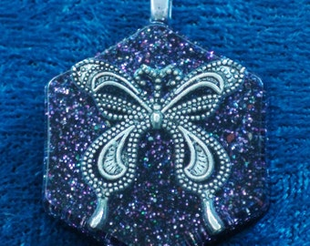 Silver Butterfly Honeycomb Sahasrara Crown Chakra Tuning Blue Orgone Pendant 72 energy harmonizing crystals Quartz black cord silver chain