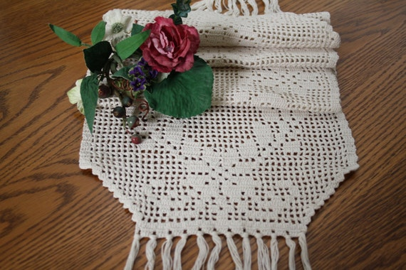 Vintage Crocheted Long Runner Doily Dress Scarf Piano