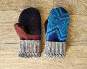 Bright Blue Sweater Mittens //LoveWoolies Mittens //Fleece Lined
