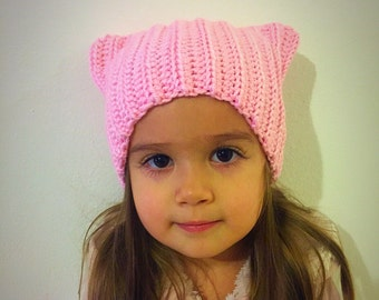 Pink pussycat hat, pussycat hat, pink cat hat, cat hat with ears, pink cat ears, pink winter hat, back to school gift