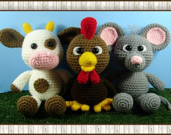 Little Chubbies Rooster, Cow and Mouse Amigurumi (PDF pattern only, this is not the finished doll)