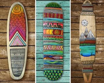 Custom hand-painted skateboard/mini cruiser/longboard deck