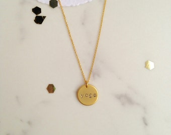 Yoga tag necklace pendant, 15mm coin, matte plated brass, eau de rose jewelry, handmade in quebec