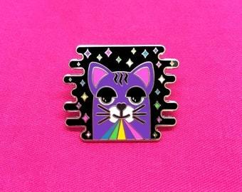 Rainbow Laser Cat Lapel Pin