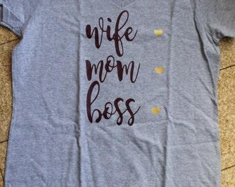 Wife Mom Boss Shirt, Grey Mom Shirt, Boss Shirt, Gold Hearts, Purple Lettering, Wife Shirt, Boss Shirt, Mom Shirt