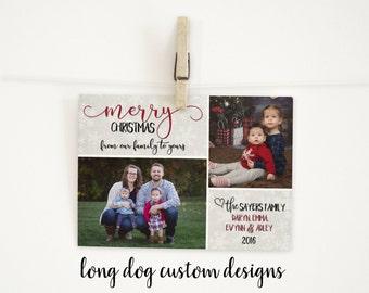 Customizable 2 Photo Christmas Card - Digital 5x7