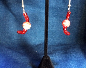 Red beaded twisted earrings
