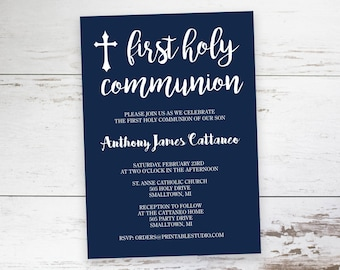 Navy and White First Communion Invitation  - Printable First Communion Invitation by Printable Studio