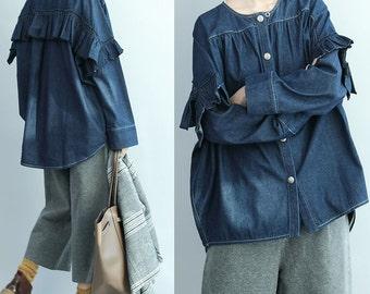 women cotton tops/women leisure blouses/women denim blouses/women loose denim blouses/women spring cotton blouses/BJ18TFEB2013