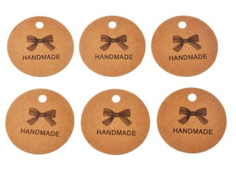 "20 pcs Round ""Handmade"" Craft Paper Tags"