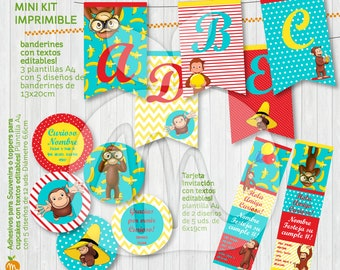 Printable and editable texts kit with Curious George! Happy birthday! INSTANT DOWNLOAD!