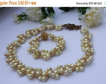 SALE Wedding jewelry vintage inspired necklace bridal statement Bohemian chic Wedding jewelry set Pearl necklace beige bride B