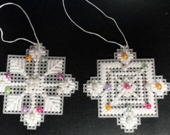 Set of 2 Plastic Canvas Snowflake Ornaments
