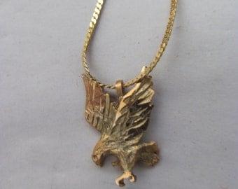 Gold Tone Flying Eagle Pendant / Chain