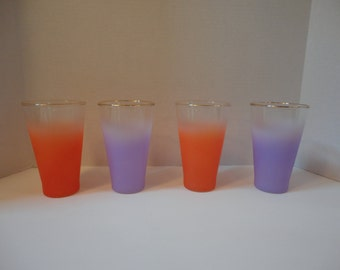 Blendo Frosted Lilac and Orange Gold Rim West Virginia Glass Tumblers 1960s Vintage