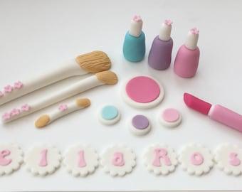 Make up, Brushes and Nail Varnish set Edible Cake Topper Sugar Fondant Decoration Birthday
