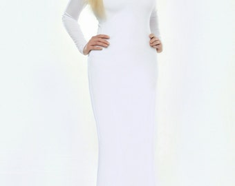 White Bodycon Maxi Wedding Dress  Long Sleeves