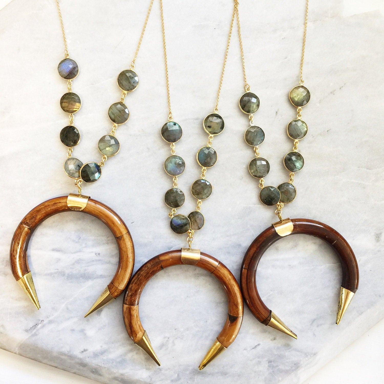Labradorite Bezel Horn Necklace | Tusk | Wooden | Crescent