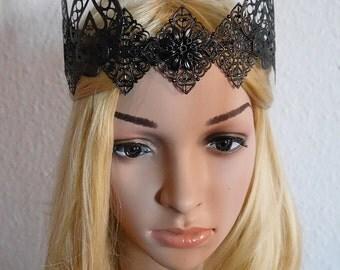 mittelalterlich Krone Metall Kopfreif Larp Renaissance Elfen Hochzeit gothic queen darkness royal metal crown
