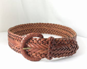 Woven Leather Belt Wide Brown Braided Belt Leather Covered Buckle