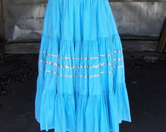 Vintage 1950's-60's Blue Cotton Tiered Full Skirt with Silver Rick Rack * Size Medium-Large