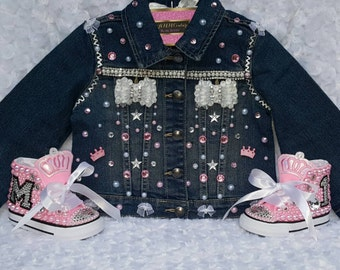 First birthday outfit, birthday outfit, custom jacket, custom vest, princess birthday, baby girl outfit