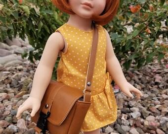 Messenger Bag for Dolls Like American Girl, Faux Leather Doll Purse, Doll Purse, Doll Bag