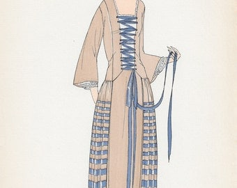 Original Pochoir Print from Gazette du Bon Ton Published 1922, Issue 3, Sketch XXIII
