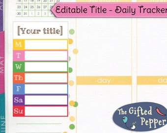 Track anything! Editable Daily Tracker [Printable]. Weekly Tracking Spending Weight loss Sleep Exercise. For Erin Condren Planner. Stickers.