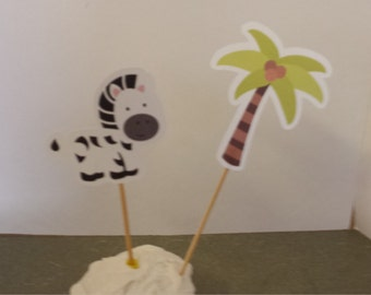 ZEBRA  Cake or Cupcake Toppers Set of 12... Choice of one side or two sided pick