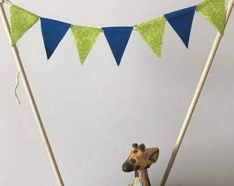 Birthday Cake Topper / Bunting / Fabric Pennant Flags / Baby Shower / Blue, Green Flags / Party / Double sided