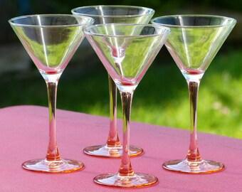Verres à cocktail Luminarc. Lot de 4 verres vintage pied rose. Verrerie vintage.