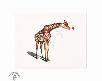 Giraffe with Flower - Watercolor Painting Giclee Print