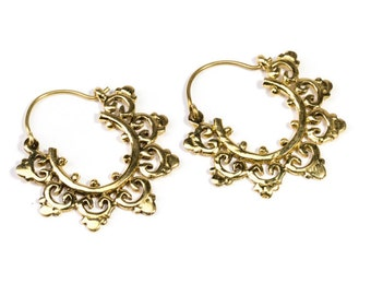 Small Mandala Brass  Hoop Earrings Tribal Earrings Jewellery Free UK Delivery Gift Boxed BG8
