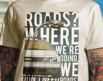 Back To The Future DeLorean t-shirt men DMC tshirt Car tshirt 80s art Retro T shirt Delorean Marty McFly Emmet Brown