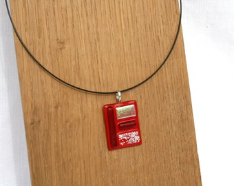 Necklace, glass fusing, red rectangle