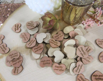 "100 ""Happily Ever After"" Hearts ~ 1"" Wood Hearts ~ Wedding Decor ~ Wedding Confetti ~ Wooden Confetti ~ Wedding Invitations"