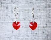 Pixel Red Heart Earrings ...