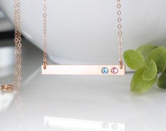 Rose Gold Bar Necklace - Birthstone Bar Necklace - Christmas Gift for Mom -  Rose Gold Birthstone Necklace For Mom