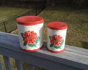 SALE Vintage red floral tin canisters