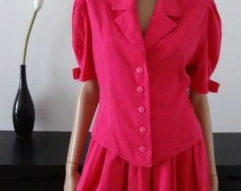 tailleur vintage chemisier-veste/jupe rose fuchsia taille 36 - UK 8 - US 4