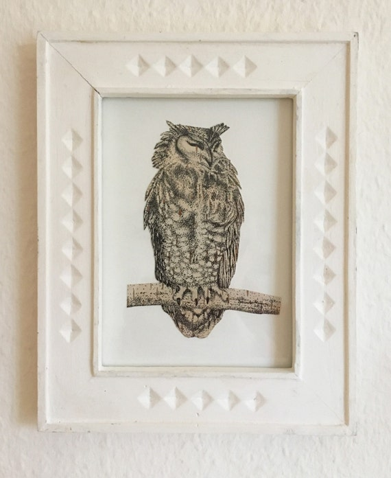 Great Horned Owl - Bubu - Collaged Point Ink Drawing With Birch Bark - Unique