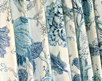 Blue Floral Curtains, Linen Curtains, Floral Pattern, Custom Drapes,  Pleated Drapes,  Blue Floral Curtains