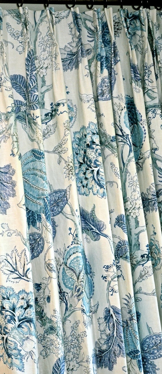 Blue Floral Curtains Linen Curtains Floral Pattern Custom