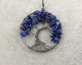 "2"" (50mm) Gunmetal Plated Copper Wire Wrapped Tree of Life Focal Pendant with Lapis Lazuli Chip Beads - Sold Individually/Random"